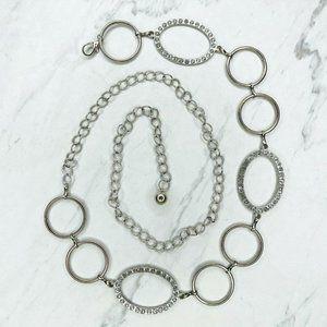 Silver Rhinestone Concho Belly Body Chain Belt